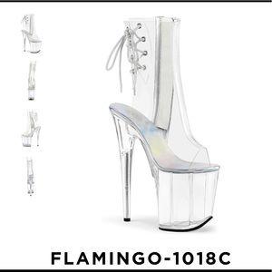 Pleaser Clear Flamingo Open Toe Boot